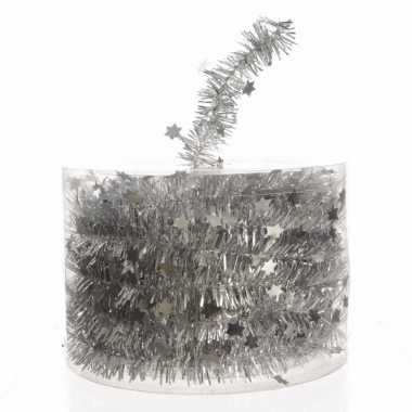 Extra lange zilveren folie slinger met sterren