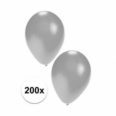 Feest ballonnen in zilverkleur 200 stuks