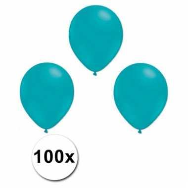 Feest ballonnen turquoiseblauw 100 stuks
