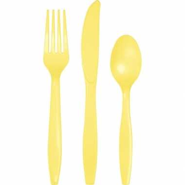 Feest bestek geel 24 delig