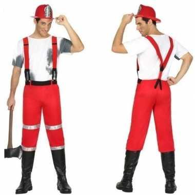 Feest/carnaval brandweermannen verkleedoutfit met bretels voor heren
