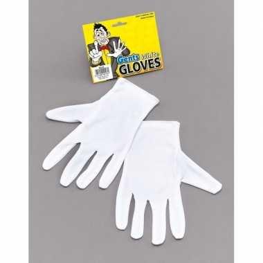 Feest choogelaar/magier handschoenen wit kort voor volwassenen