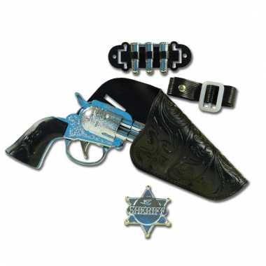 Feest cowboy western revolver pistool 22 cm met holster