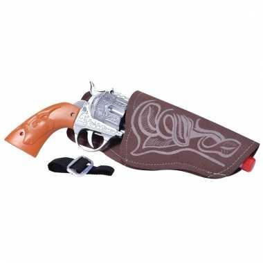 Feest cowboy western revolver pistool zilver 20 cm met holster