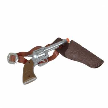 Feest cowboy western revolver pistool zilver 22 cm met holster
