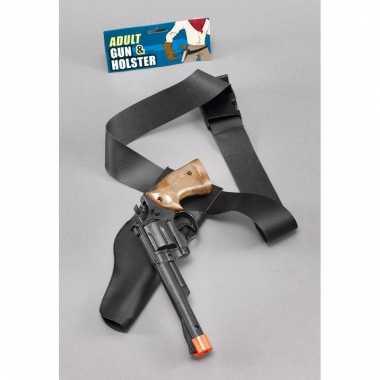 Feest cowboy western revolver pistool zwartr 22 cm met holster