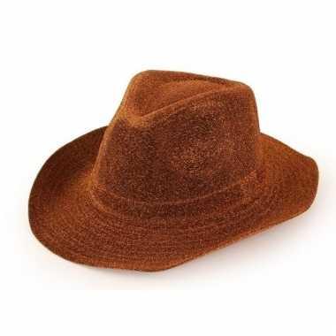 Feest cowboyhoed glitter koper bruin voor volwassenen
