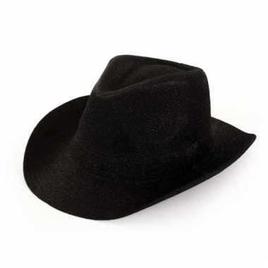 Feest cowboyhoed glitter zwart voor volwassenen