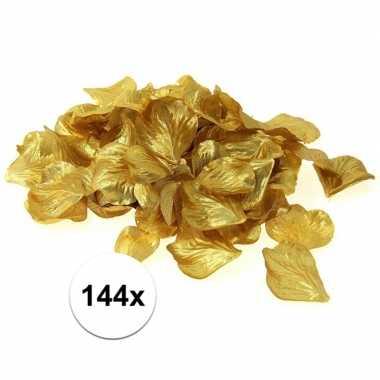 Feest decoratie rozen blaadjes goud 144 stuks