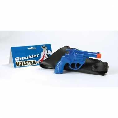 Feest detective revolver/pistool blauw met schouder holster 16 cm