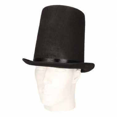 Feest extra hoge hoed zwart voor volwassenen