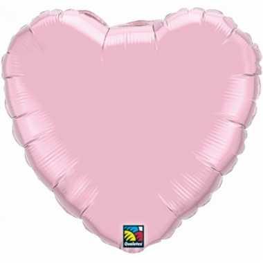 Feest folieballon lichtroze hartje 45 cm