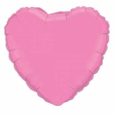 Feest folieballon roze hartje 45 cm