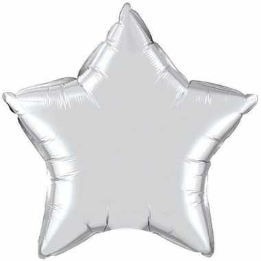 Feest folieballon zilver sterretje 50 cm