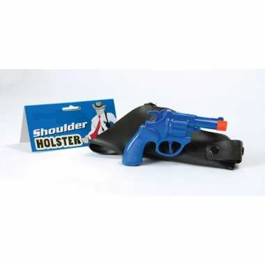 Feest gangster revolver/pistool blauw met schouder holster 16 cm
