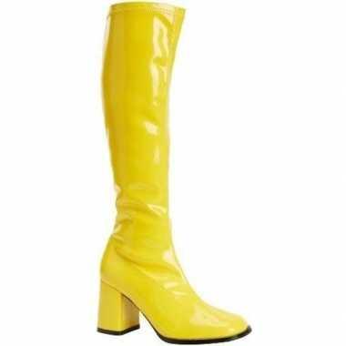 Feest gogo laarzen geel met blokhak voor dames