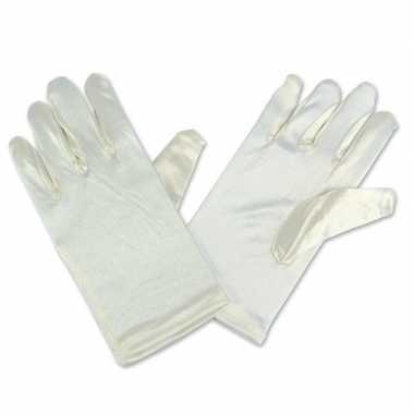 Feest handschoenen goochelaar gebroken wit satijn voor kinderen