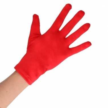 Feest handschoenen rood kort voor volwassenen