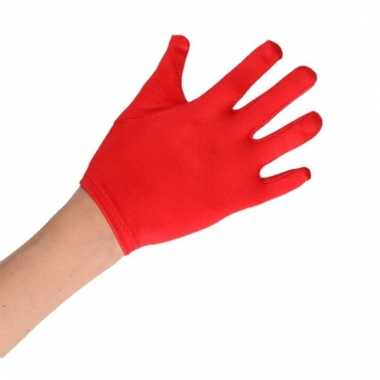 Feest handschoenen rood satijn voor kinderen