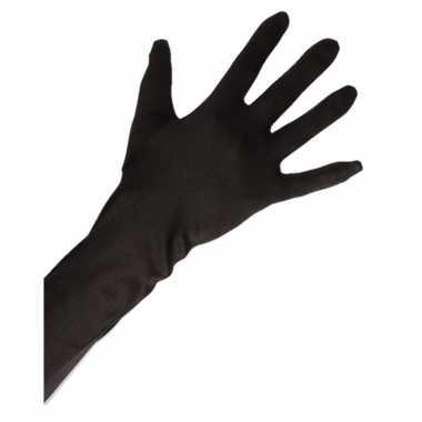 Feest handschoenen satijn zwart lang voor volwassenen