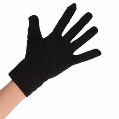 Feest handschoenen zwart kort voor volwassenen
