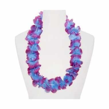 Feest hawaii slingers paars/blauw