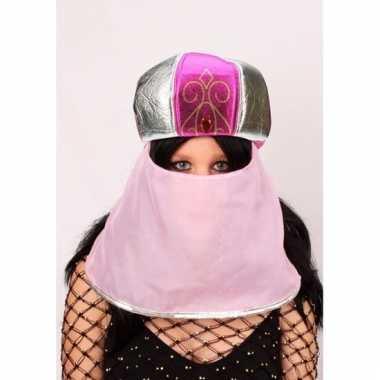 Feest hoed arabische stijl roze voor dames