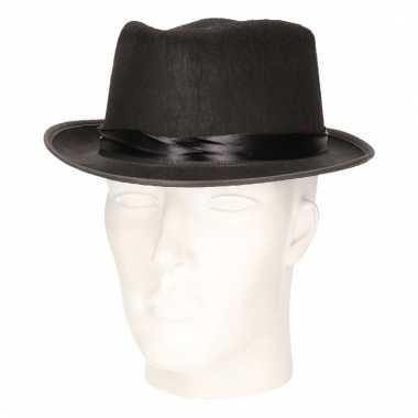 Feest hoed blues zwart voor volwassenen