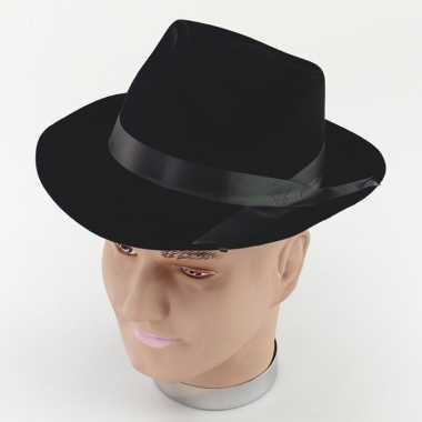 Feest hoed maffia zwart voor volwassenen