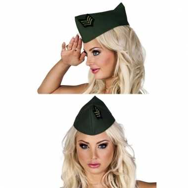 Feest hoedje legergroen voor dames