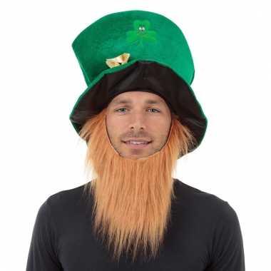 Feest hoedje met baard sint patricks day voor volwassenen