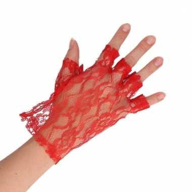 Feest kanten handschoenen rood voor dames