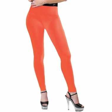 Feest legging neonoranje voor dames
