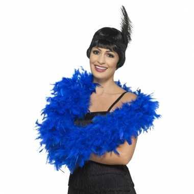 Feest luxe blauwe verenboa 180 cm