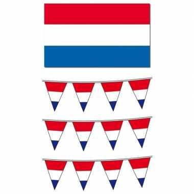 Feest nederlandse vlag/vlaggenlijnen versiering groot