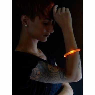 Feest/party oranje armbanden met led lampjes voor dames/heren/volwass