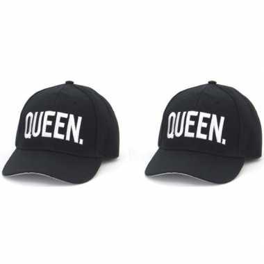 Feest/party petjes zwart queen en queen voor stelletje