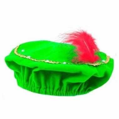 Feest pieten groene baret met lichtjes voor kinderen