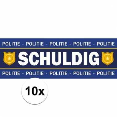 Feest politie/agent schuldig stickers 10 stuks