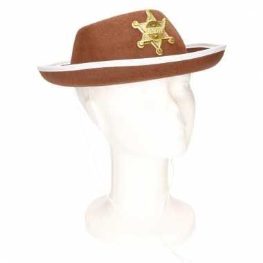 Feest sheriff hoedje bruin voor kinderen