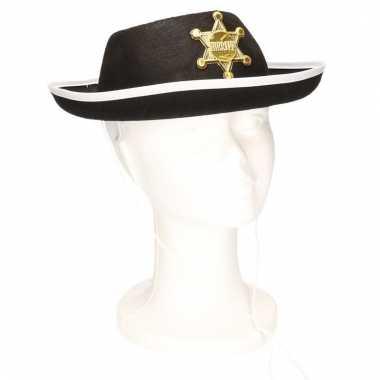 Feest sheriff hoedje zwart voor kinderen