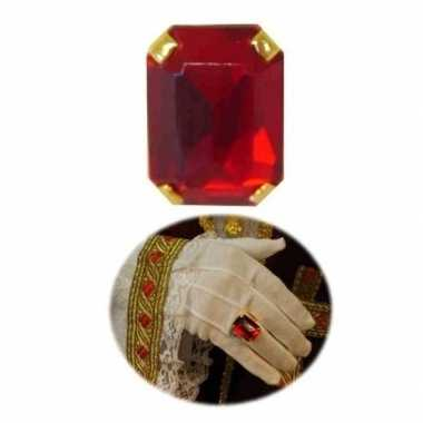 Feest sinterklaasring verkleedaccessoire goud/rode rechthoekige ring