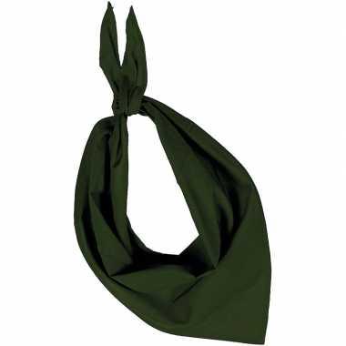 Feest/verkleed olijf groene bandana zakdoek voor volwassenen