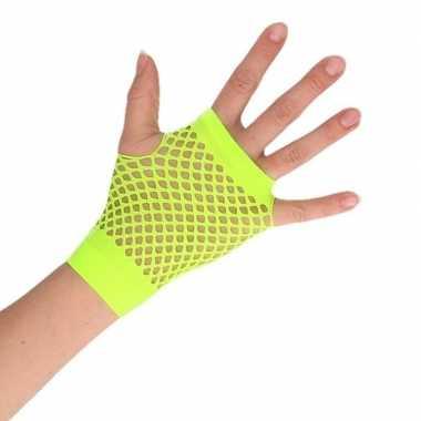 Feest visnet handschoenen rocker/punker groen kort voor volwassenen