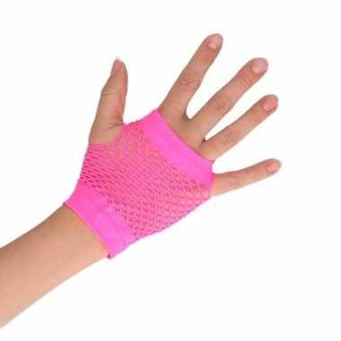 Feest visnet handschoenen rocker/punker roze kort voor volwassenen