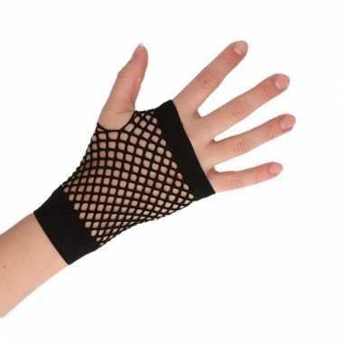 Feest visnet handschoenen zwart kort voor volwassenen