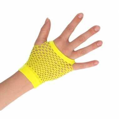 Feest visnet rocker/punker handschoenen geel kort voor volwassenen