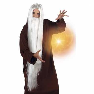 Feest witte neptunus/gandalf pruik met baard voor volwassenen