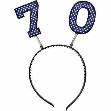 Feestartikel 70 jaar geworden hoofdband/diadeem