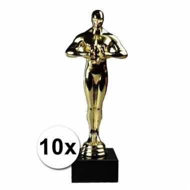 Feestartikel goud award beeldjes 22 cm 10 st